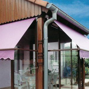 Stores extérieurs-projection-bannettes-rose